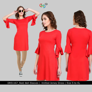 Short Dress with Ruffled Sleeves Red Jersey Dress