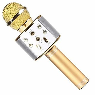 SCORIA WS858 Wireless Karaoke Microphone  4-in-1 Portable Bluetooth Speaker Player Selfie Function for Apple iPhone Android Smartphones (Gold)