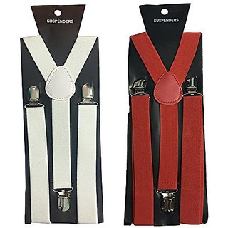 Y- Back Suspenders for Men(White Red Color)