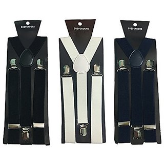 Y- Back Suspenders for Men (Black White Navy Blue Color)