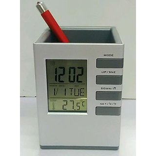 Arwal Digital India Digital Clock Office Corporate Pen HOLDER Cube Desk Pen Stand