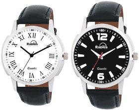 Radius by Smartshop16 Round Black Leather Men &Boy Analog Premium Combo Watches( Pack Of 2) (R-44+47)