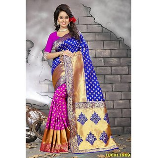 Blue & Fuchsia Pink Colour Sarees