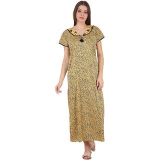 Kismat Fashion Hosiery Cotton Yellow Multi Color Long Nighty