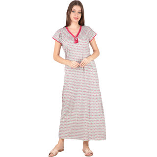 56db5d112e Kismat Fashion Shinker Cotton Pink Multi Color Long Nighty