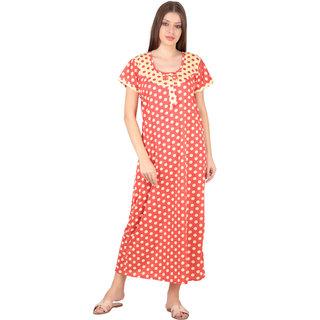 Kismat Fashion Hosiery Cotton Red Multi Color Long Nighty