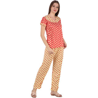 Kismat Fashion Hosiery Cotton Red Multi Color Night Suit Set