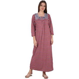 Kismat Fashion Winter Wear Woolen Hosiery Red Multi Color Long Nighty