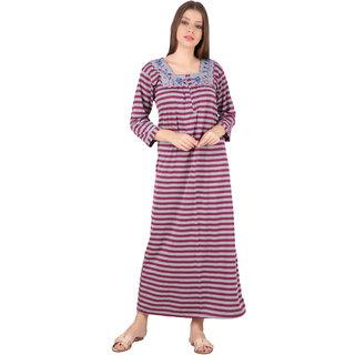Kismat Fashion Winter Wear Woolen Hosiery Maroon Multi Color Long Nighty