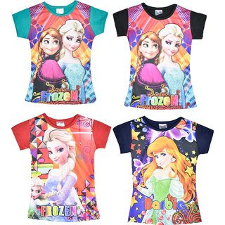 Jisha Fashion Girls Frozen Print Tshirt Pack of 4