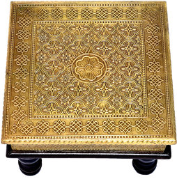 Beautiful Handcrafted Wooden And Brass Stool Home Decorative