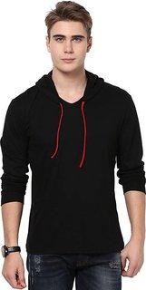 Men's Solid Black Hooded T-Shirt (Pack of 1)