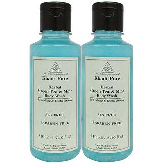 Khadi Pure Herbal Green Tea  Mint Body Wash SLS-Paraben Free - 210ml (Set of 2)