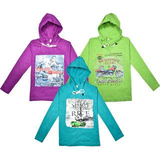 Jisha Fashion Full Sleeves Hooded Tshirt Unisex Multicolor Set of 3