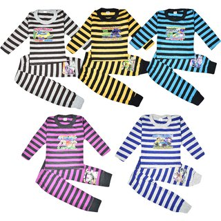 Jisha Fashion Full Sleeves Cotton Top and Bottom Set Pack of 5 (Unisex)