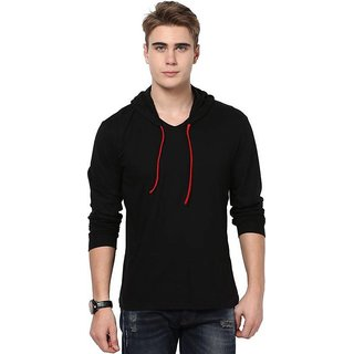 Men's Solid Black Hooded T-Shirt (Pack of 1)