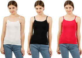 Gbros  womens strap camisole slip pack of 3 innerwear (Assorted colours)