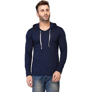ToYouth Solid Men's Hooded Navy Blue T-Shirt (Pack Of 1)