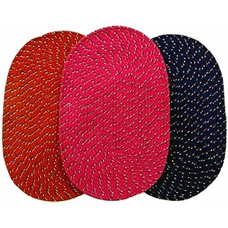 HomeStore-YEP High Quality Cotton Reversable Door mat Set Of 3 - Multicolors