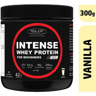 Sinew Nutrition Intense Whey Protein for Beginner's, Protein Supplement - Vanilla Flavour 300 Gm
