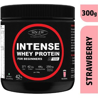 Sinew Nutrition Intense Whey Protein for Beginner's, Protein Supplement - Strawberry Flavour 300 Gm