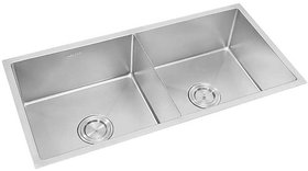 Anupam Stainless Steel Kitchen Sink PS739DS (1070 x 510 x 250 mm / 42 x 20 x 10 inch) Double Square Bowl Without Drain B