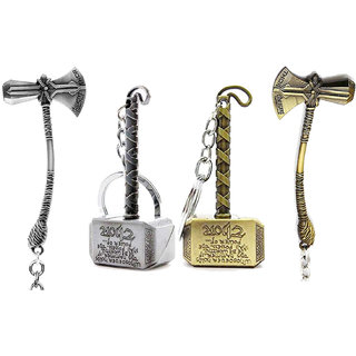 KD COLLECTIONS Avengers Infinity War Thor Axe Hammer Keychain Combo Antique Silver Grey-Golden Color-Set of 4 Keychains