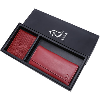Kara Combo Leather Wallet for Men Women (Red)