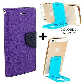 Wallet Flip Cover For Motorola Moto E3 Power  /  Moto E3 Power  - PURPLE With Mobile Stand