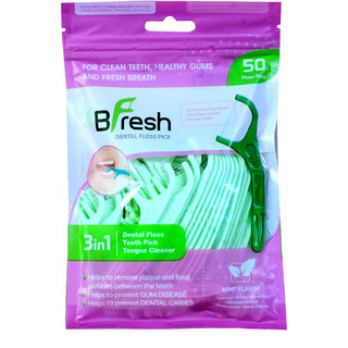 BFresh Flossers 3 in 1 Mint Flavoured Dental Floss Picks with Tongue Cleaner for Fresh Breath and Healthy Gums