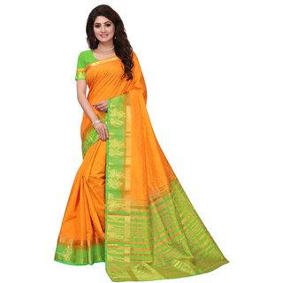 Orange and Green Tusar Silk Handloom Art Work Kanjivaram saree
