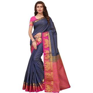Blue and Pink Tusar Silk Handloom Art Work Kanjivaram saree