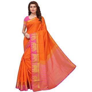 Orange and Pink Tusar Silk Handloom Art Work Kanjivaram saree