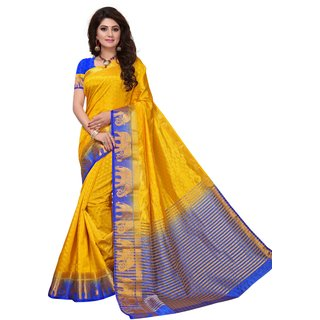 Yellow and Blue Tusar Silk Handloom Art Work Kanjivaram saree