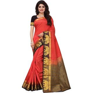 Red and Black Tusar Silk Handloom Art Work Kanjivaram saree