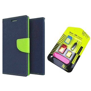 Wallet Flip Cover For Sony Xperia M5 Dual  / Xperia M5 Dual    BLUE With Nano Sim Adapter
