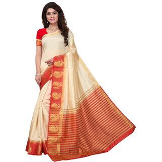 Beige and Red Tusar Silk Handloom Art Work Kanjivaram saree