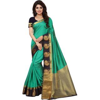 Green and Black Tusar Silk Handloom Art Work Kanjivaram saree
