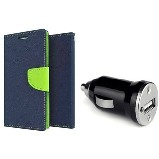 Wallet Flip Cover For Micromax Bolt Q324  / Micromax Q324  - BLUE  With CAR ADAPTER