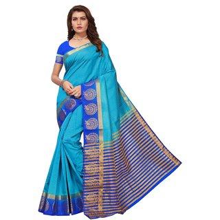 Blue Tusar Silk Handloom Art Work Kanjivaram saree