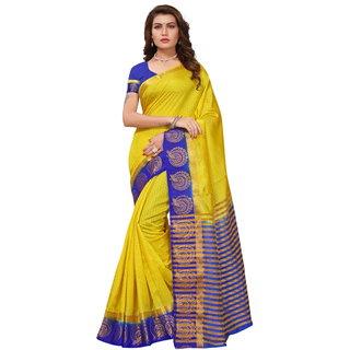 Yellow and Blue Tusar Silk Handloom Art Work Kanjivaram saree