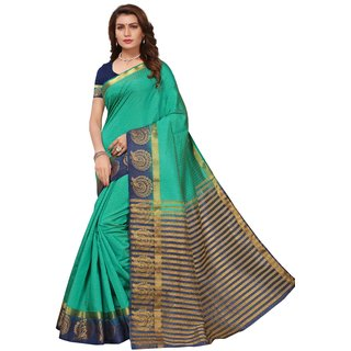 Green and Blue Tusar Silk Handloom Art Work Kanjivaram saree