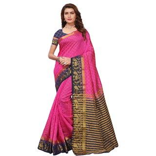 Pink and NavyBlue Tusar Silk Handloom Art Work Kanjivaram saree