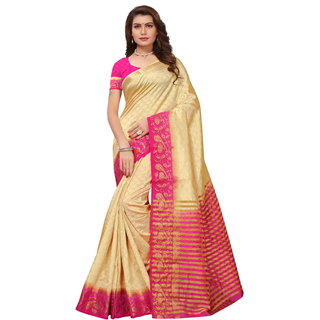 Beige and Pink Tusar Silk Handloom Art Work Kanjivaram saree