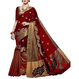 Genius Creation Self Design Red Color Cotton Silk Saree With Blouse Piece