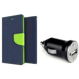 Wallet Flip Cover For Motorola Moto E3 Power  /  Moto E3 Power  - BLUE  With CAR ADAPTER
