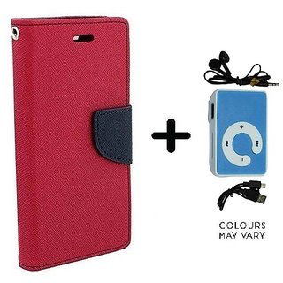 Wallet Flip Cover For Samsung Galaxy S4 Mini I9190  / Samsung i9190  - PINK With Mini MP3 Player