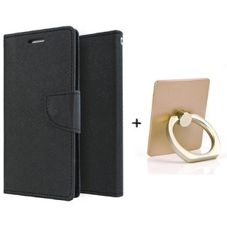 Wallet Flip Cover For Lenovo A1000    - BLACK WITH MOBILE RING STAND