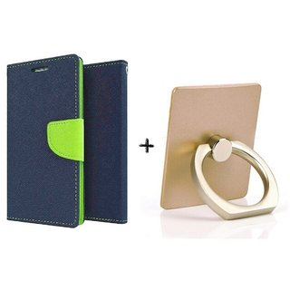 Wallet Flip Cover For Lenovo A7000    - BLUE WITH MOBILE RING STAND