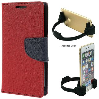 Wallet Flip Cover For Reliance Lyf Water 2  / Reliance  Water 2  - RED With Universal Portable Mobile OK Stand